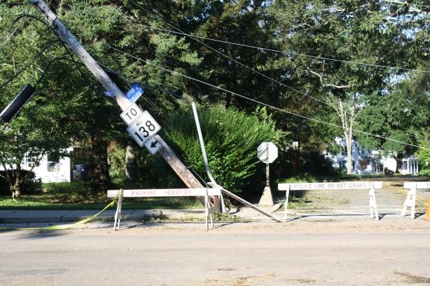 leaning utility pole