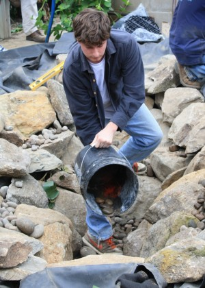 placing river stones