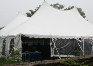 large tent in garden