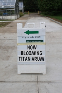 sign for titan arum in greenhouse