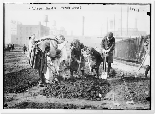 children digging