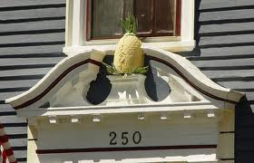Colonial era doorway with carved pineapple